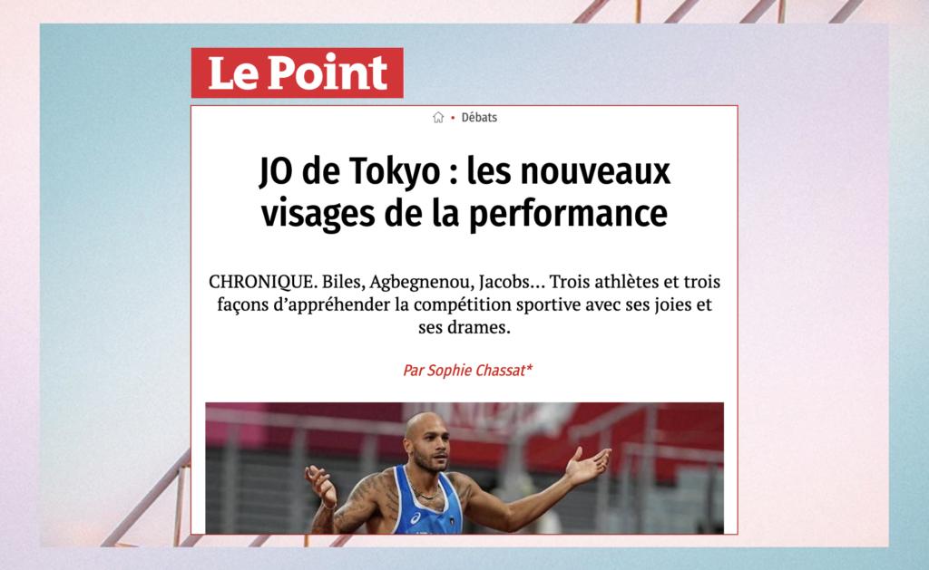"""Sophie Chassat : chronique dans Le Point """"JO de Tokyo : les nouveaux visages de la performance"""""""""""